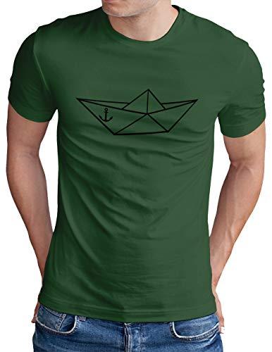 OM3® Origami-Paper-Boat T-Shirt | Herren | Papier Schiffchen Schiff Anker Seemann | Grün-SW, S