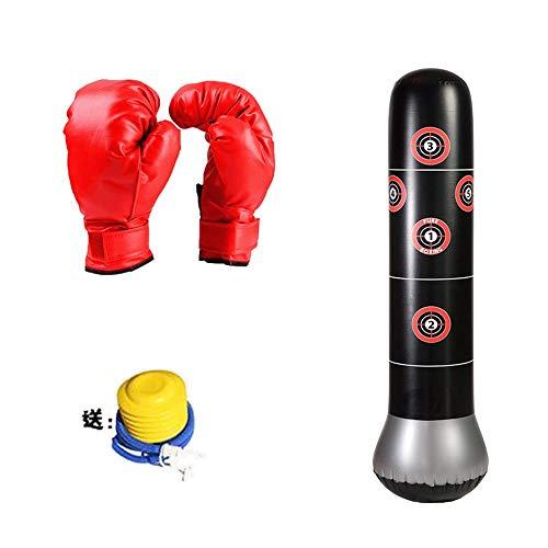 Modenny Fitness Aufblasbare Boxing Boxsack Punch-Turm-Tasche Boxen Ständer Wasser Basis-Schulung zur Druckentlastung Zieltasche mit Kindern Stanzen Handschuhe Air Inflator Pumpe Schwere Boxsäcke