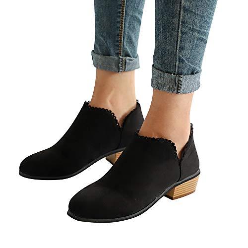 OSYARD Onlineshop Damenmode,Spitze Ankle Stiefeletten Stiefel Damen Vintage Low-Top Mode Frauen...