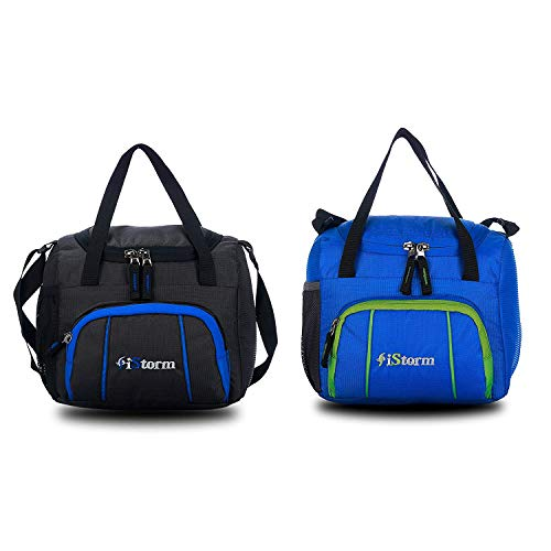 iStorm Polyester Lunch Bag/Tiffin Bag for Lunch Box (Black & Dark Blue with Green Zip, Pack of 2)