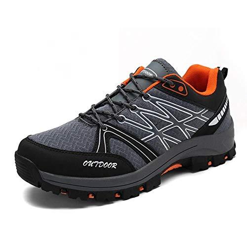 Y-PLAND Zapatos de Senderismo al Aire Libre Ligeros, Zapatos Casuales de Senderismo de Gran tamaño, diseño Neto + Material de Goma Zapatos Transpirables-Gris_EU43