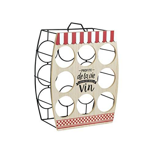 CAPRILO. Original Botellero Decorativo de Metal y Madera para 8 Botellas de Vino. Muebles Auxiliares. Menaje de Cocina. Regalos Originales. 30 x 16 x 38 cm.