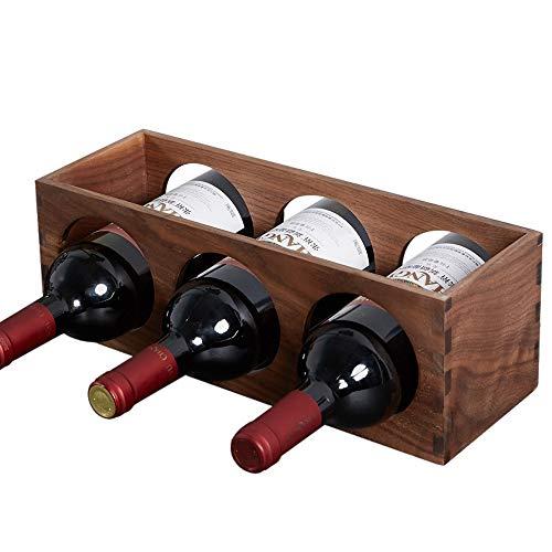 GUOQING Pequeño Nogal Negro Wine Rack 35cmx12cmx12cm Puede usarse para almacenar Vino o como Adorno Mueble botellero de pie