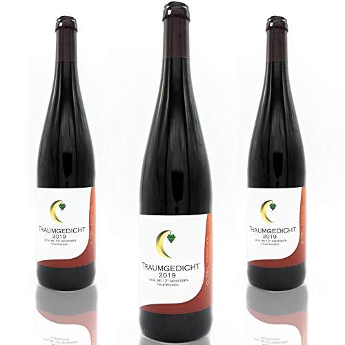 Traumgedicht Rotwein halbtrocken für fruchtigen Genuss, fruchtig, traubig rot, 10,0%, Dornfelder, Spätburgunder, milde Säure, für gemütliche Abende und zu Speisen (3x0,75l)