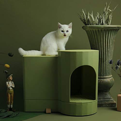 Caja de arena para gatos Creativa Gran Caja De Arena, Completamente Cerrado Tipo Cajón Del Tocador Del Gato, Anti-salpicaduras De La Camada De Arena For Gatos Grano De Madera De Forma Gato Pan Aseo pa