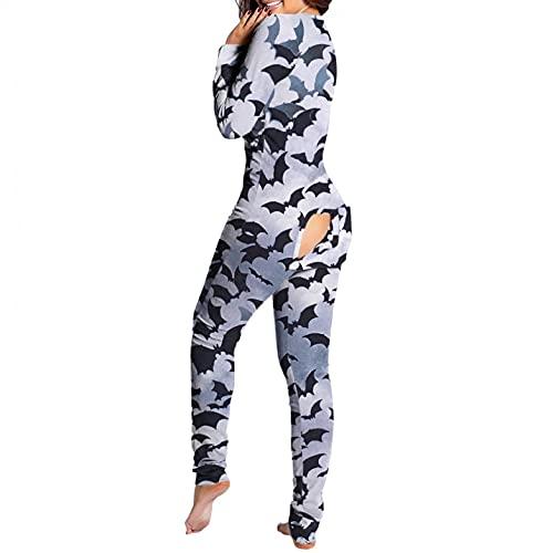 BIBOKAOKE Pijama de una sola pieza para mujer, sexy, con botón en la parte trasera, pijamas, body con estampado, mono funcional.
