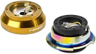 NRG-SRK-140H-RG+280BK-MC, NRG Innovations Steering Wheel 6-Hole Aluminum Ball Bearing Short Hub Adapter with Gen 2.8 Neo Chrome Black Quick Release SRK-140H