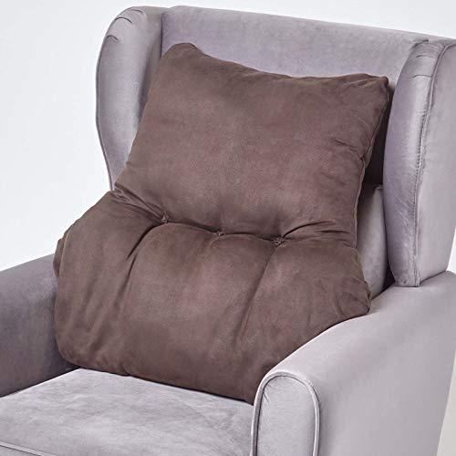 Homescapes braunes Rückenkissen mit Veloursbezug, Lordosenstütze für Sessel, Bürostühle, Couch oder Bett, 68 x 58 x 15 cm, Lendenkissen zur ergonomischen Entlastung von Rücken und Wirbelsäule