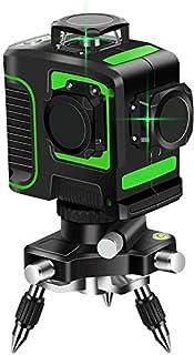 TOPKAR 3x360°12ライングリーンレーザー墨出し器 3Dフルライン 垂直*2・360°水平*1 照射モデル 斜線機能 7mm壁寄り 大矩照射モデル 自動補正 高輝度 高精度 1年保証 (グリーン)