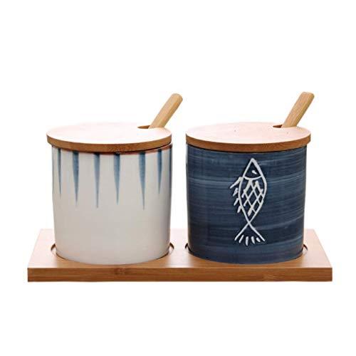 Refinado y práctico. XLTLP Especia Frasco, cerámica Japonesa Cocina condimento Tarro Traje Creativo de Aceite Botella casa Sabor Sal Cuadro de condimento de Chile Olla de Sal (Color : #2)