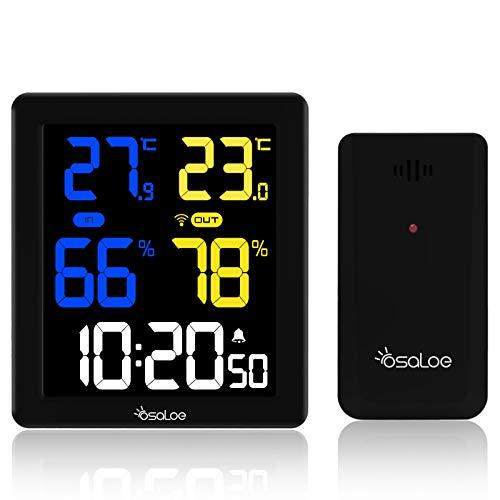 Osaloe Wetterstation Funk mit Außensensor, Innen und Außen Thermometer Hygrometer LCD Farbdisplay Wetterstation Digitaluhr für Temperatur-Feuchtigkeits-Monitor (schwarz)