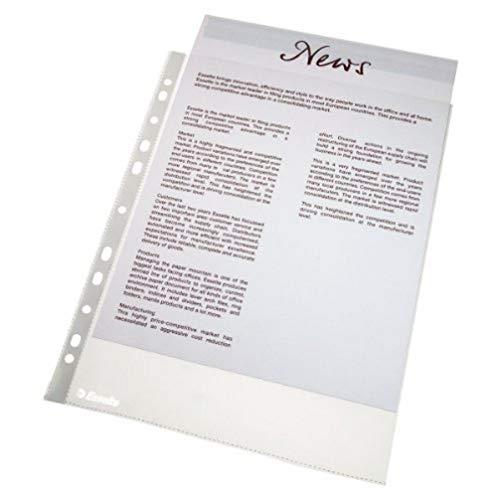 Esselte Prospekthüllen-Set, 10 Stück, A4 Format mit Universal-Lochung, Farblos mit matter Oberfläche, 0,043 mm PP-Folie, 56094