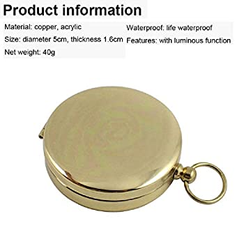 Yue QIN Boussole Waterproof Portable Boussole de Poche Boussole Laiton pour Voyage,Randonné,Exploration,Camping