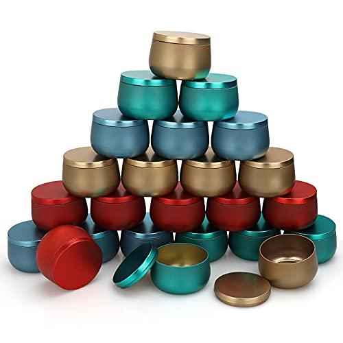Leere Kerzendosen aus Metall, 24 Stück, für die Kerzenherstellung, 8oz Mini-Kerzendosen DIY-Kerzenherstellungszubehör-Kit, trockene Vorratsdosen für Tee-Süßigkeiten-Gewürze-Geschenke Gift (4 Farben)