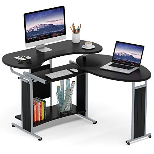Tribesigns Reversible L-Shaped Computer Desk, Modern Rotating Computer Office Corner Desk Studying Writing Table Workstation for Small Home Office USe (Black)