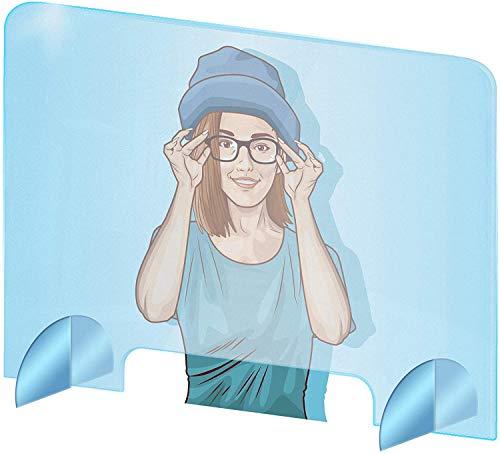 Pantalla protectora de plexiglás para escritorio - Protección contra estornudos para mostrador - Pantalla de plexiglás acrílico transparente - Separador de escritorio (70 x 50 cm)