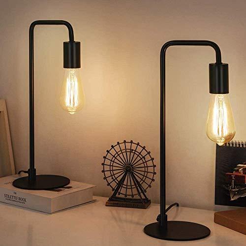 Lámpara de mesa vintage industrial de metal para mesita de noche, juego de 2, E27, lámpara de escritorio para dormitorio, salón, oficina, color negro