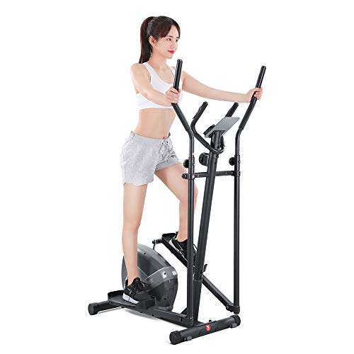 MaxKare Elliptical Machine for Home Use 8-Level Resistance Portable Magnetic Elliptical Exercise Machine Trainer with Flywheel Extra-Large Pedal & LCD Monitor Quiet Smooth