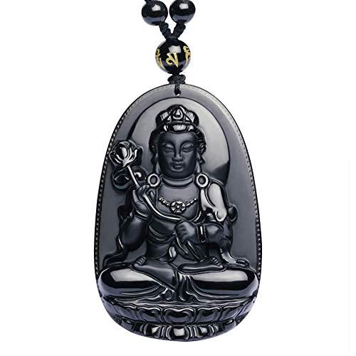 Purmy Buddha Anhänger Naturstein Amulett, Vajrapani Jade Buddha mit Verstellbarer Schwarzer Perlenkette 52-72cm