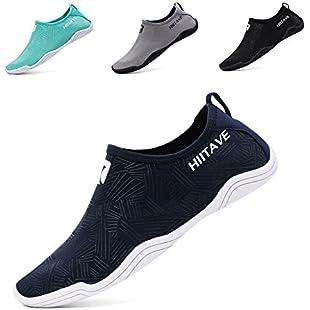 hiitave Men Women's Quick Dry Barefoot Water Shoes Slip On Beach Sport Aqua Socks Navy 6 B(M):Kisaran