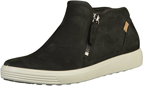 ECCO Women's Soft 7 Low Bootie Fashion Sneaker, Black/Powder Nubuck, 9-9.5