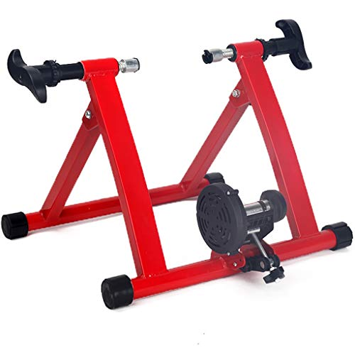 Bike Racks Bicycle Turbo Trainer,Foldable Bike Trainer Magnetic,Road Bike Fitness Equipment,Bike Trainer Stand for Mountain & Road Bike Tyres 24' - 28' Wheels (Color : Red)