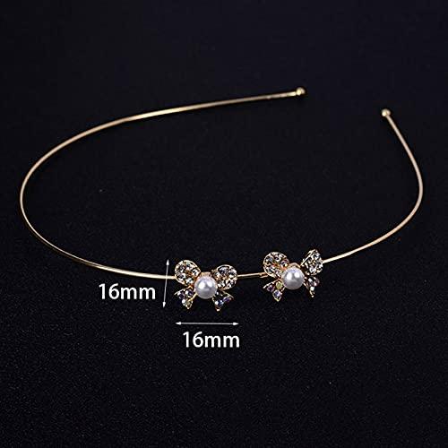 lkpoijuh Boda Nupcial de Dama de Honor Tiara joyería Accesorios para el Cabello Cabeza de Novia (Metal Color : 27 Gold)