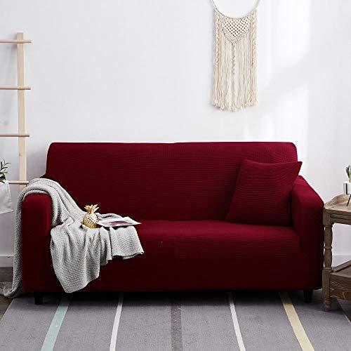 Cubierta Sofa Muebles con Cuerda de Fijación,Funda de sofá elástica de color sólido para sala de estar, antideslizante, funda elástica para sillón de sofá, rojo, 1 plaza, 90-140 cm (1 pieza)