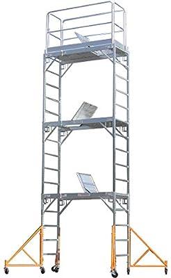 Aluminum Scaffold Rolling Tower 17' Standing Deck High with Guard Rail, Hatch door, U Locks, CBM1290