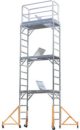 CBM Scaffold Aluminum Scaffold Rolling Tower 17' Standing Deck High with Guard Rail, Hatch Door, U Locks,