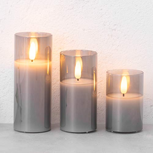 GloBrite Smoked Glass Battery Operated Candle, Flameless Led Candle Gift Set, Warm White Light, Batteries Included - Set of 3