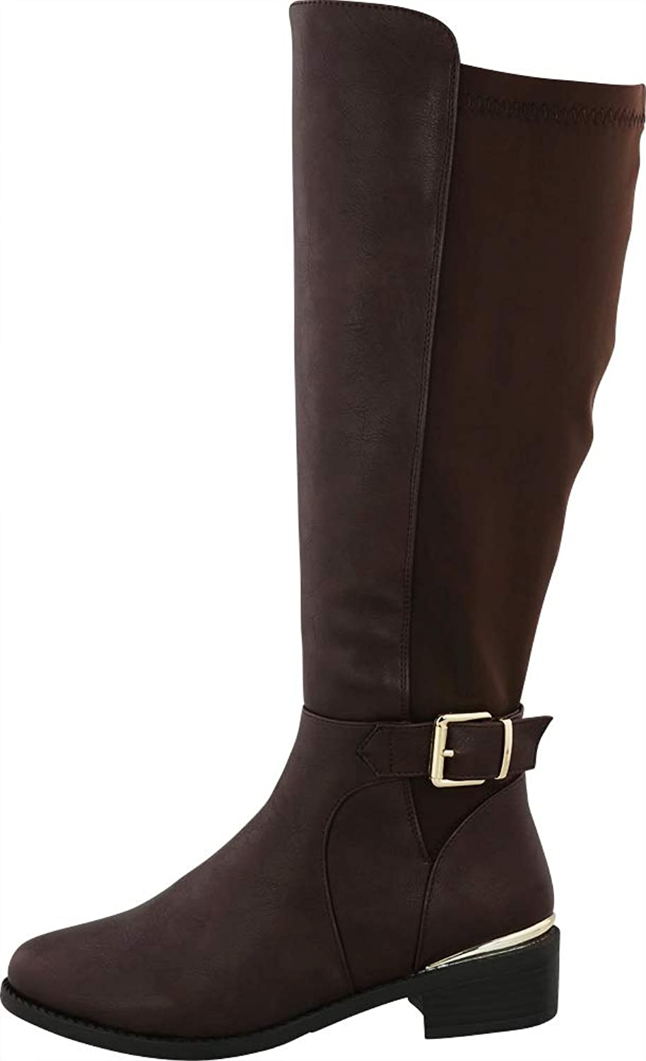 Cambridge Select Women's Round Toe Buckle Stretch Knee-High Low Chunky Heel Riding Boot