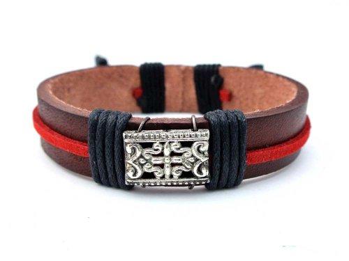 Agathe Creation-Pulsera tibetain-felicidad cáñamo-piel y perlas de metal, color rojo y marrón, negro, talla a medida, hecho a mano