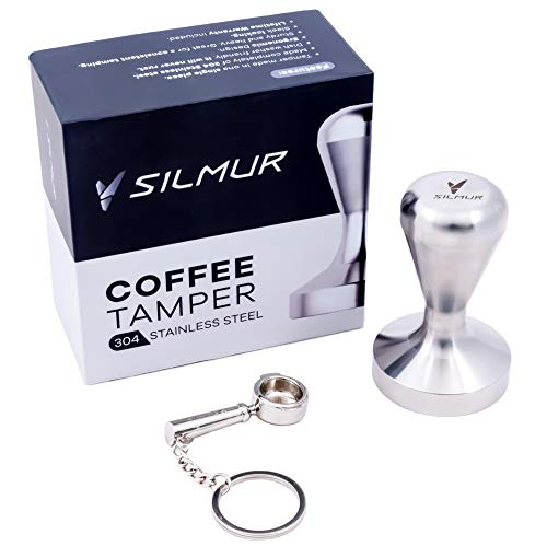 SILMUR Espresso Tamper Tool UNIBODY Stainless Steel 51mm Tamper and Tiny Portafilter Coffee Gift Set 112 lb Flat Base Coffee Tamp Tool Coffee Gifts for Coffee Lovers Barista Tools Coffee Tamper