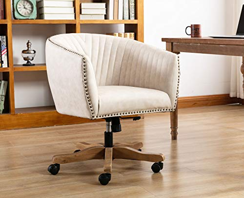 Guyou Retro Barrel Swivel Home Office Desk Chair for Heavy Duty, Upholstered Ergonomic Accent Arm Chair with Luxurious Nailheads and Pleated Mid-Back, Beige in Faux Leather
