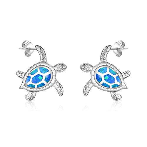 WINNICACA Sea Turtle Earrings Sterling Silver Created Blue Opal Ocean Stud Earrings Jewelry Gifts for Women Mom Mother's Day