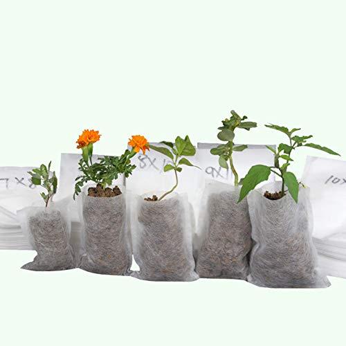 Egurs Sacs de pépinière Non tissés 100pcs | Perméable | Respirant | Biodégradable | Pots de semis 20 * 20cm de Sac de Nutrition Croissant de Fruit végétal de Plante