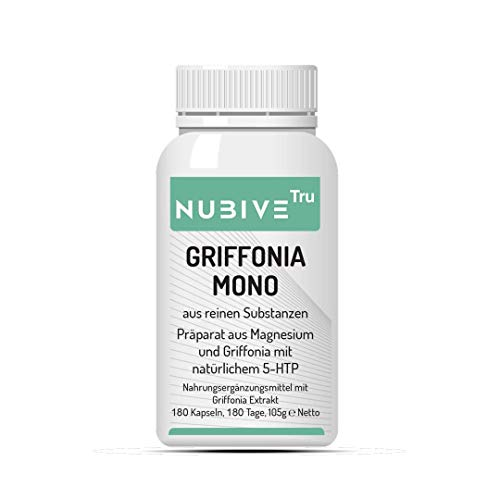 NUBIVE TRU - 5 HTP Griffonia Mono - Unterstützung des Serotonin Spiegels - 49,5 mg 5-HTP - Stimmungsaufheller - Kombinationspräparat Magnesium Griffonia - 180 Kapseln - 180 Tage Packung