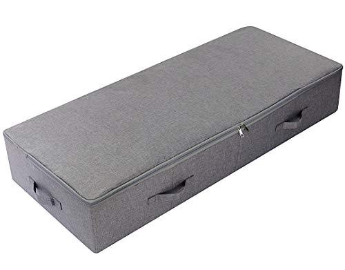 AMX 100 * 43 * 18 cm Debajo de la Cama Zapatos Organizador de Almacenamiento Contenedores con Tapa, a Prueba de Polvo y Transpirable, Tablero de plástico Duradero en Cajas, Gris Oscuro