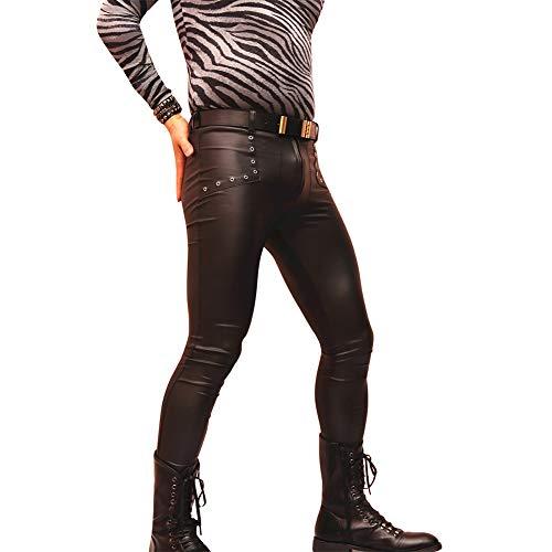 XUESHA Hombres Pantalones De Cuero De Imitación, Estilo Gótico, Punk Moda Slim Fit Leggings Casuales con Cremallera,M