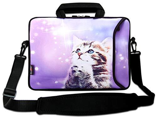 15 Laptop Bag Carry Case w.Pocket,Shoulder Strap Fit 15.5' 15.6' Sony Acer HP Dell Samsung Asus,14' 15.4' 15.5' 15.6' Laptop PC (Purple Wish Cat)