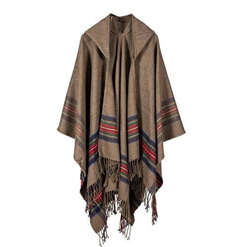 THTHT Dames Shawl Fashion Mantel Sjaal Verdikking Kleur strepen Imitatie kasjmier jacquard met een muts jacquard warm en lange herfst en winter Dual gebruik Classic kunnen worden gedragen. kaki