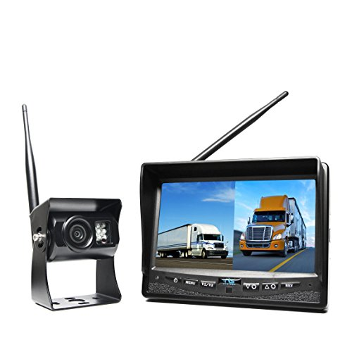 Rear View Safety Wireless Backup Camera System with Dual Screen Monitor and Cigarette Lighter...