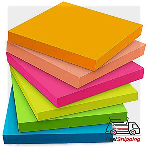 Skicky Notes - Sticky Notes 3x3 Inches - Sticky Notes with Strong Adhesive, 6 Bright Colors, 100 Sheets/Pad, 3 x 3 Inches, Great for School, Office, Home