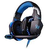 Garciadia VersionTECH G2000 Gaming Headset Surround Stereo Gaming-Kopfhörer mit Noise-Cancelling Mikrofon LED-Licht & Soft Speicher Earmuffs (Farbe: Schwarz blau)