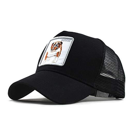 Moda Media Malla Transpirable Gorra Deportiva Unisex, Animal Embroidered Cómoda Tela Elástica Gorra De Béisbol De Velcro Ajustable Gorros Casuales Gorras De Béisbol De Hip Hop Caza Pesca (Negro3)