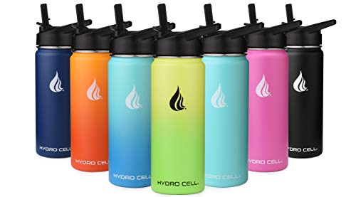 HYDRO CELL Stainless Steel Water Bottle with Straw & Wide Mouth Lids (18oz) - Keeps Liquids Perfectly Hot or Cold with Double Wall Vacuum Insulated Sweat Proof Sport Design ( Fuchsia 18oz)