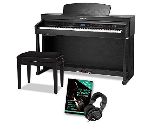 Steinmayer DP-380 SM Digitalpiano Set (88 Tasten, Hammermechanik, Triple-Sensor-System, LCD, Begleitautomatik, Kopfhöreranschlüsse inkl. Pianobank, Kopfhörer, Klavierschule) schwarz matt