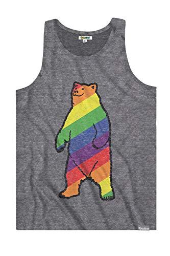 Tipsy Elves Men's Grey Gay Bear Don't Care Tank Top - Pride Shirt: L