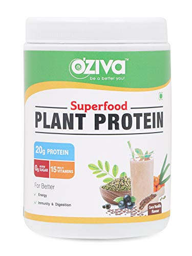 OZiva Superfood Plant Protein for Men & Women with Ayurvedic Herbs & Multivitamins for boosting...